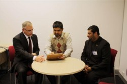 Holt MP Anthony Byrne, Aziz Umer Bhatti and Rehmat S. Mohammed discuss the history of the Ahmadiyya community.