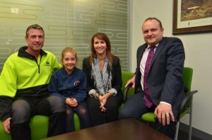 La Trobe MP Jason Wood with nine-year-old Holly, who suffered from aHUS, and her parents Darryn and Linda. Picture: DONNA OATES