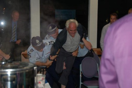 Paul Richardson being ejected from a Casey Council meeting in 2012 79694 Picture: BRIDGET COOK