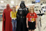 Star Wars Emperor Royal Guard Darth Vader and a Storm Trooper with Target staff members Stacey and Stacey. 141872 Picture: STEWART CHAMBERS