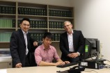 Casey student Andrew Leong with his dad Ni Tec Leong and Holt MP Anthony Byrne.