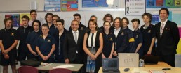 Minister for Education, James Merlino, with Narre Warren South MP Judith Couacaud Graley and students and teachers at Kambrya College in Berwick. Picture: Contributed
