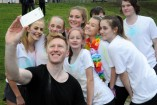 Jason Ball, front, poses with Berwick College students Hannah, Grace, Tara, Shelby, Bianca, Sara and Darcy 158367 Picture: STEWART CHAMBERS