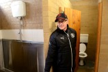 Joe Di Iorio in the only male toilets - one cubicle and one urinal - in the pavilion. 158102 Picture: ROB CAREW